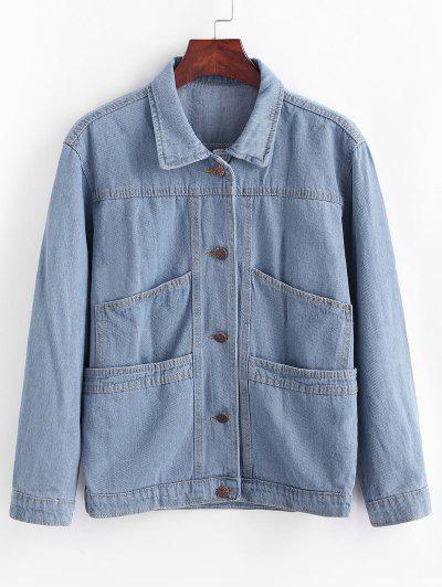 Jaqueta Bolsos Com Botão De Escada - Jeans Azul L