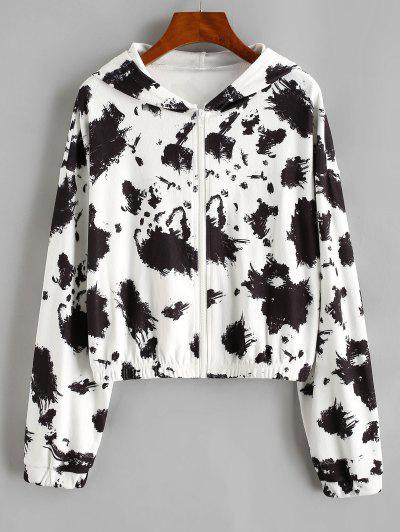 Hooded Fleece Drop Shoulder Splatter Ink Jacket - Black M
