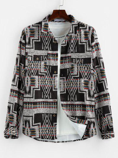ZAFUL Geometric Striped Pattern Pocket Long Sleeve Shirt - Multi L
