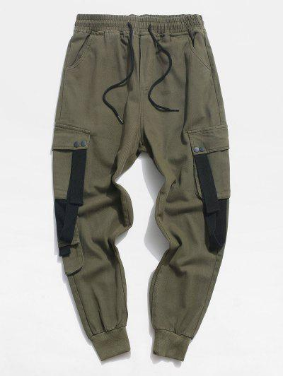 Drawstring Letter Applique Contrast Tape Casual Pants - Army Green Xs