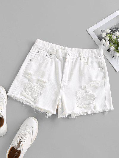 Ripped Frayed Denim Shorts - White S