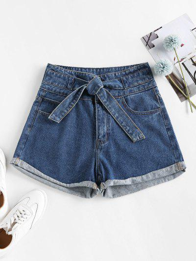 Cuffed Tie Front Denim Shorts - Blue S
