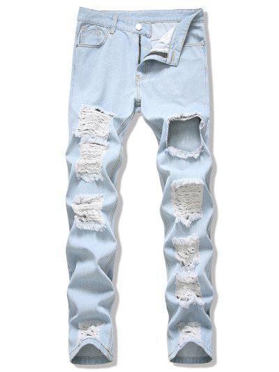 Acid Wash Destroyed Cut Out Jeans - Light Blue 32