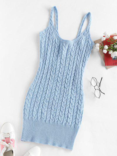 ZAFUL Cable Knit Bodycon Short Dress - Light Blue L