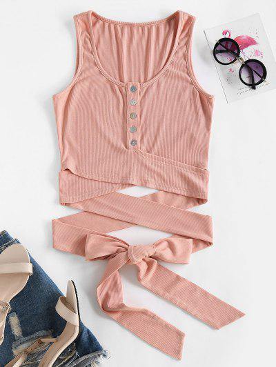 ZAFUL Button Up Ribbed Wrap Around Tank Top - Khaki Rose S