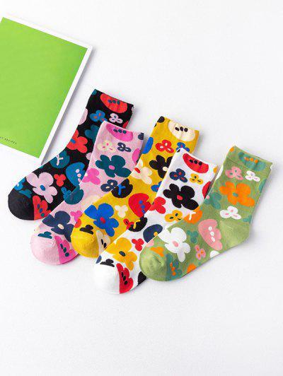 5 Pairs Flowers Printed Socks Set - Multi-a