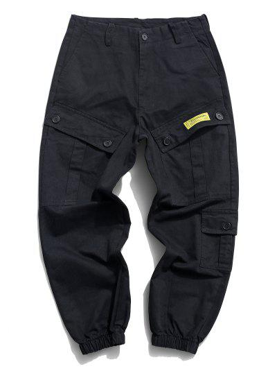 Flap Pockets Letter Patched Cargo Pants - Black S