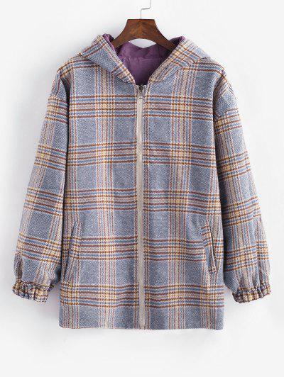 Zip Up Hooded Plaid Reversible Coat - Blue L