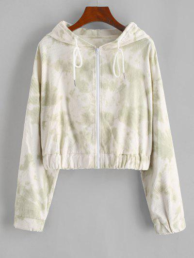 Tie Dye Zip Corduroy Hooded Jacket - Light Green S