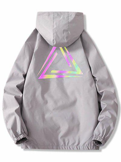 Zip Up Reflective Geometric Print Hooded Jacket - Light Gray L