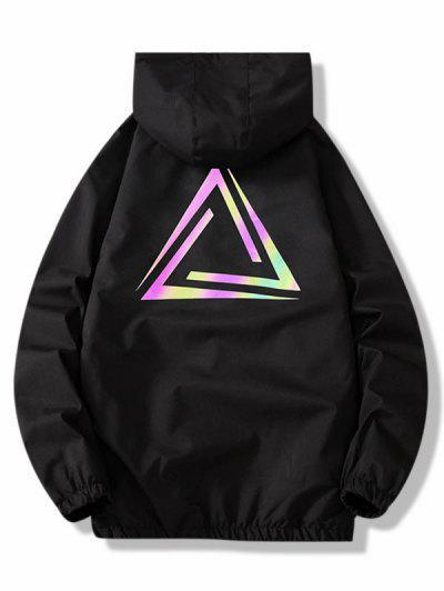 Zip Up Reflective Geometric Print Hooded Jacket - Black M