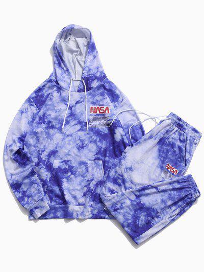 문자 패턴 넥타이 염료 후드 티와 바지 세트 - 푸른 2xl