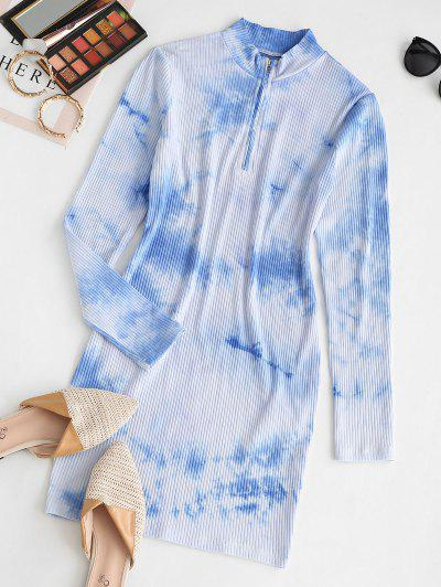 ZAFUL Half Zip Tie Dye Bodycon Dress - Light Sky Blue M