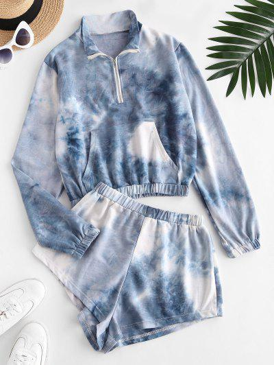 Front Pocket Tie Dye Half Zip Sweat Two Piece Set - Light Blue M