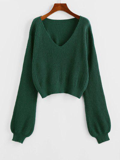 ZAFUL Plunge Drop Shoulder Lantern Sleeve Sweater - Deep Green L