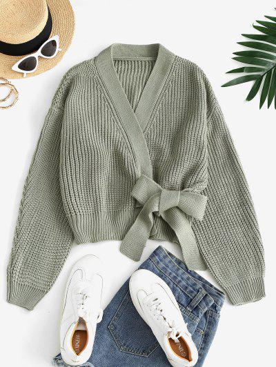 Chunky Wrap Cardigan - Green