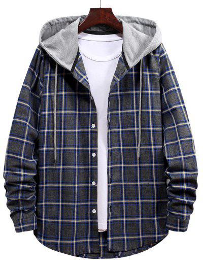 Plaid Pattern Button Up Hooded Shirt - Cadetblue M