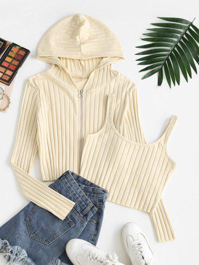 Ribbed Hooded Cardigan And Crop Top Set - Cornsilk S