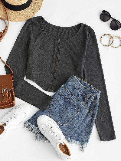 ZAFUL Irregular Full Zip Crop Cardigan - Dark Slate Grey S