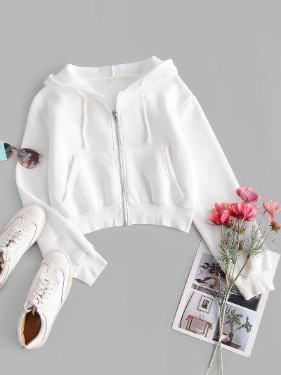 Fleece Lined Zip Up Hoodie - White S