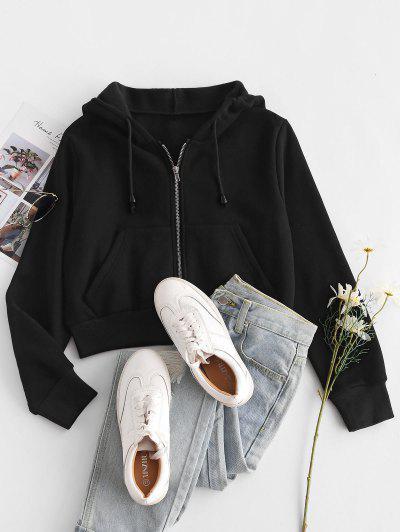 Fleece Lined Zip Up Hoodie - Black M