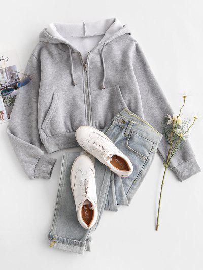 Fleece Lined Zip Up Hoodie - Gray S