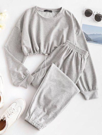 Crop Sweatshirt And Joggers Tracksuit - Gray L