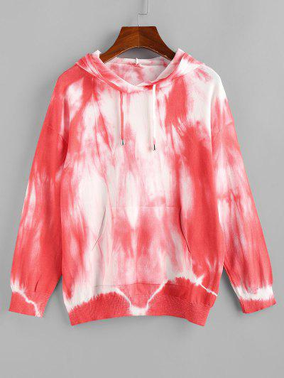 Tie Dye Hooded Drop Shoulder Jersey Sweater - Red S
