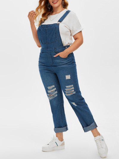 Plus Size Ripped Dungaree Jumpsuit - Deep Blue 5x