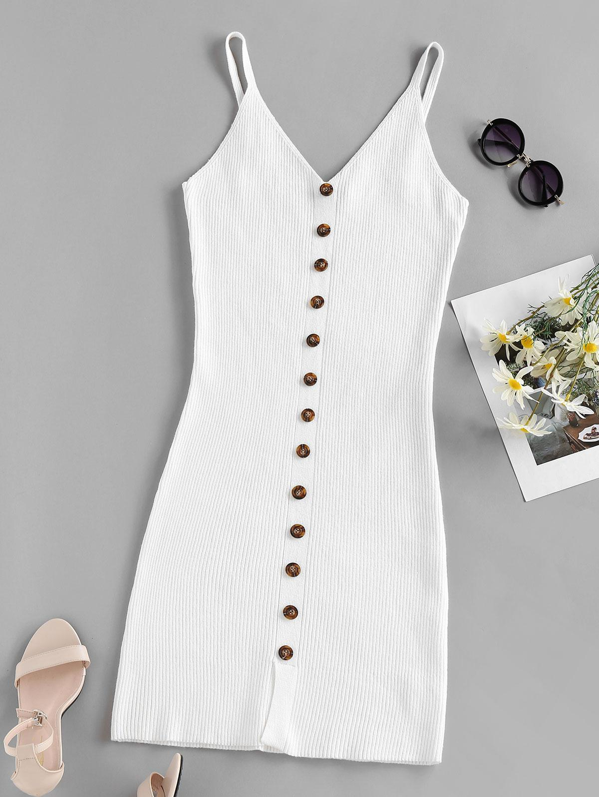 ZAFUL Ribbed Mock Button Cami Bodycon Dress