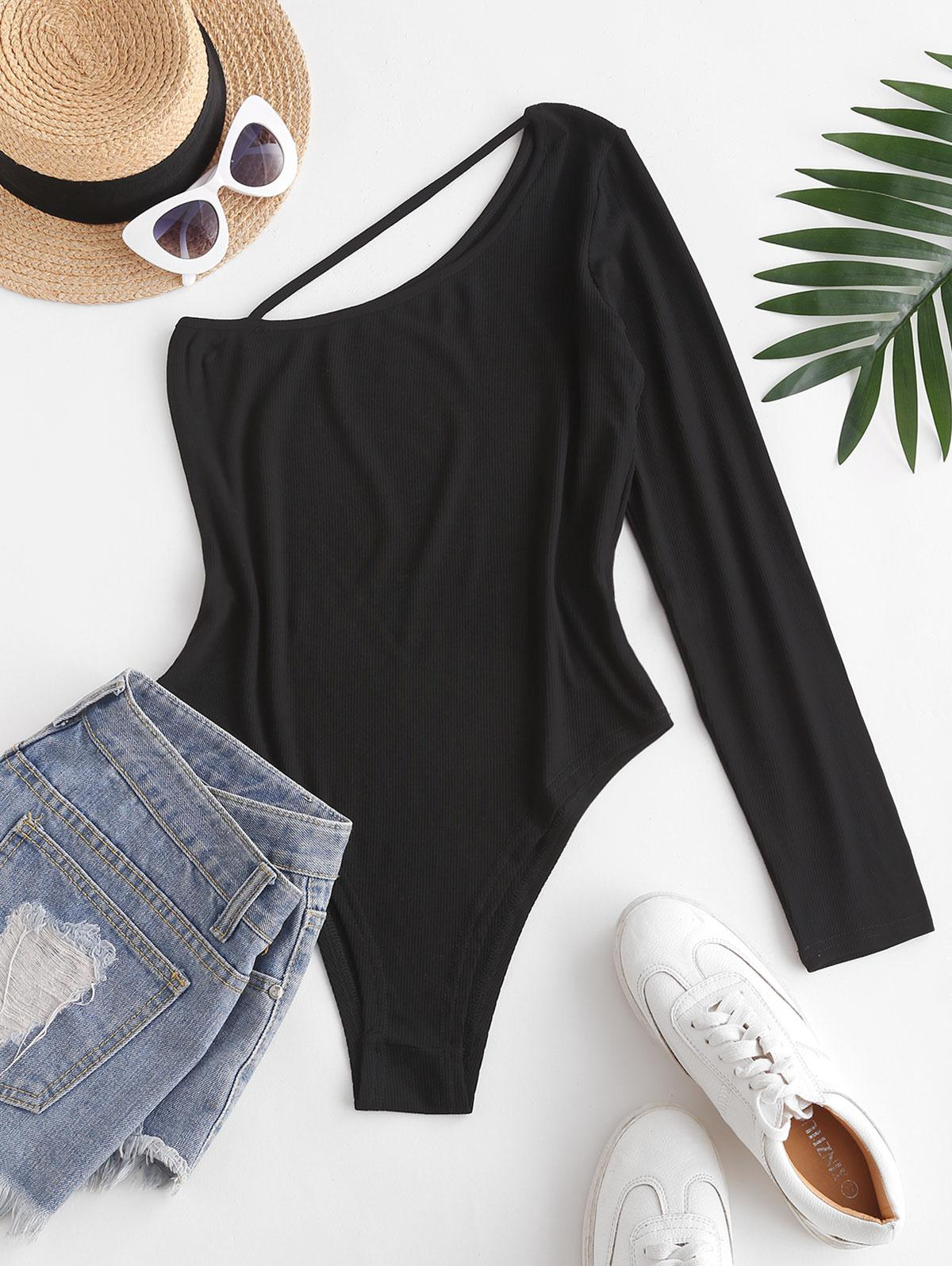 One Shoulder Cutout Ribbed Bodysuit