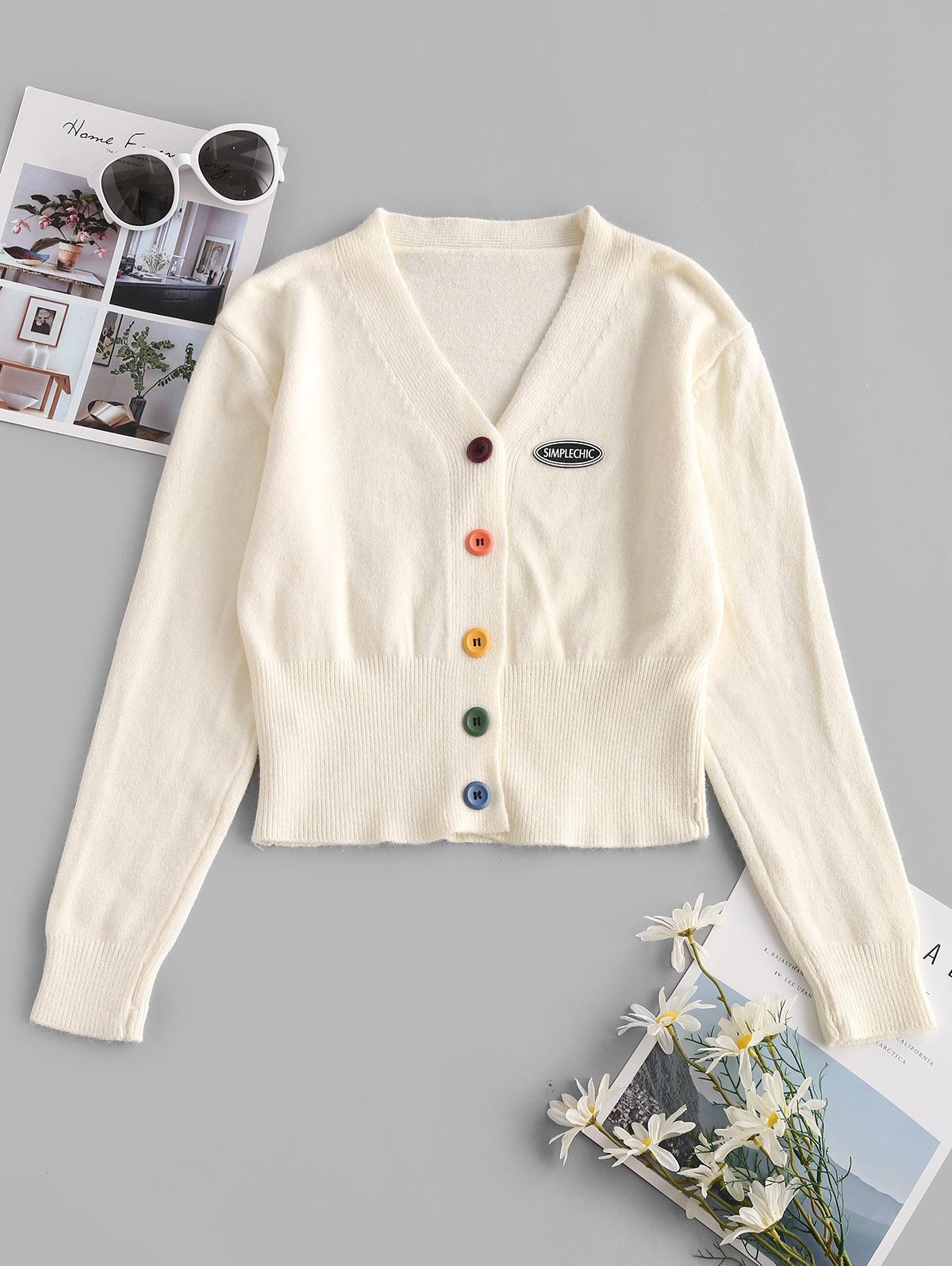 Colorful Button Applique V Neck Cardigan