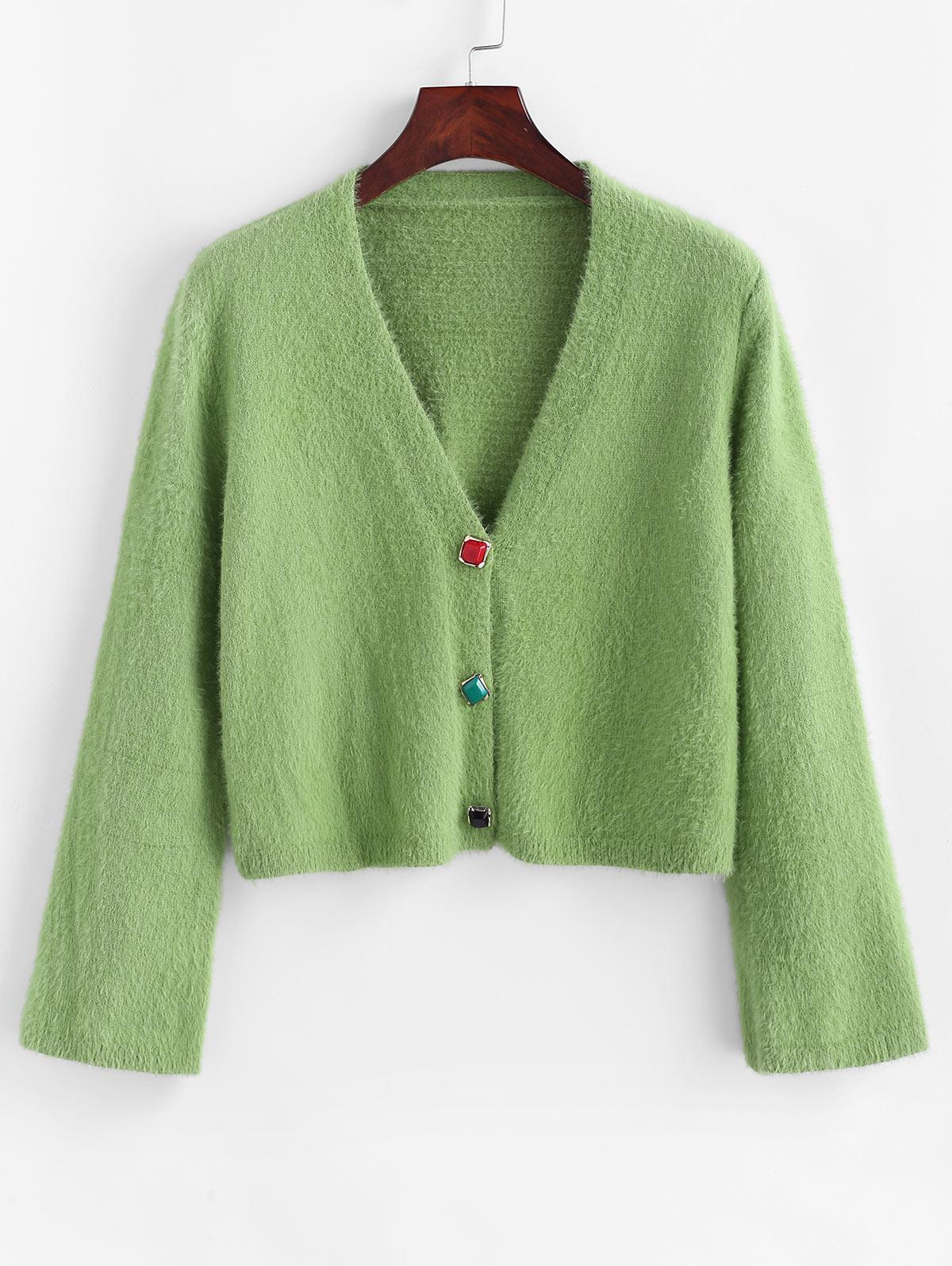 Fuzzy Plunging Colorful Button Cardigan