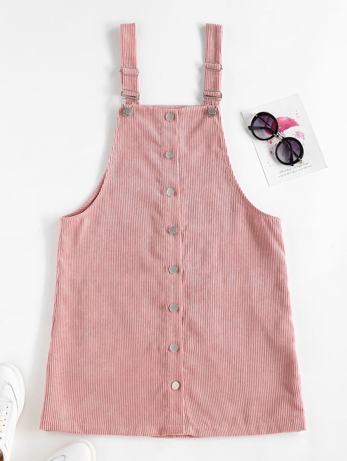 ZAFUL Corduroy Overall Dress