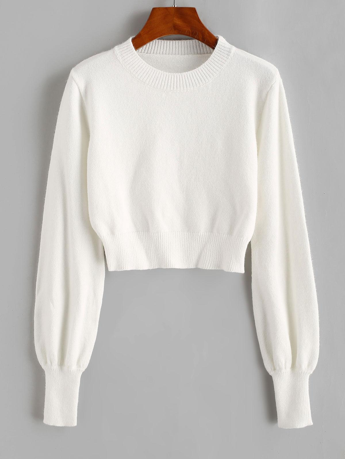Crew Neck Lantern Sleeve Crop Sweater