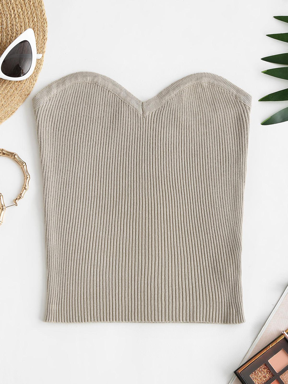 Ribbed Knitted Tube Top