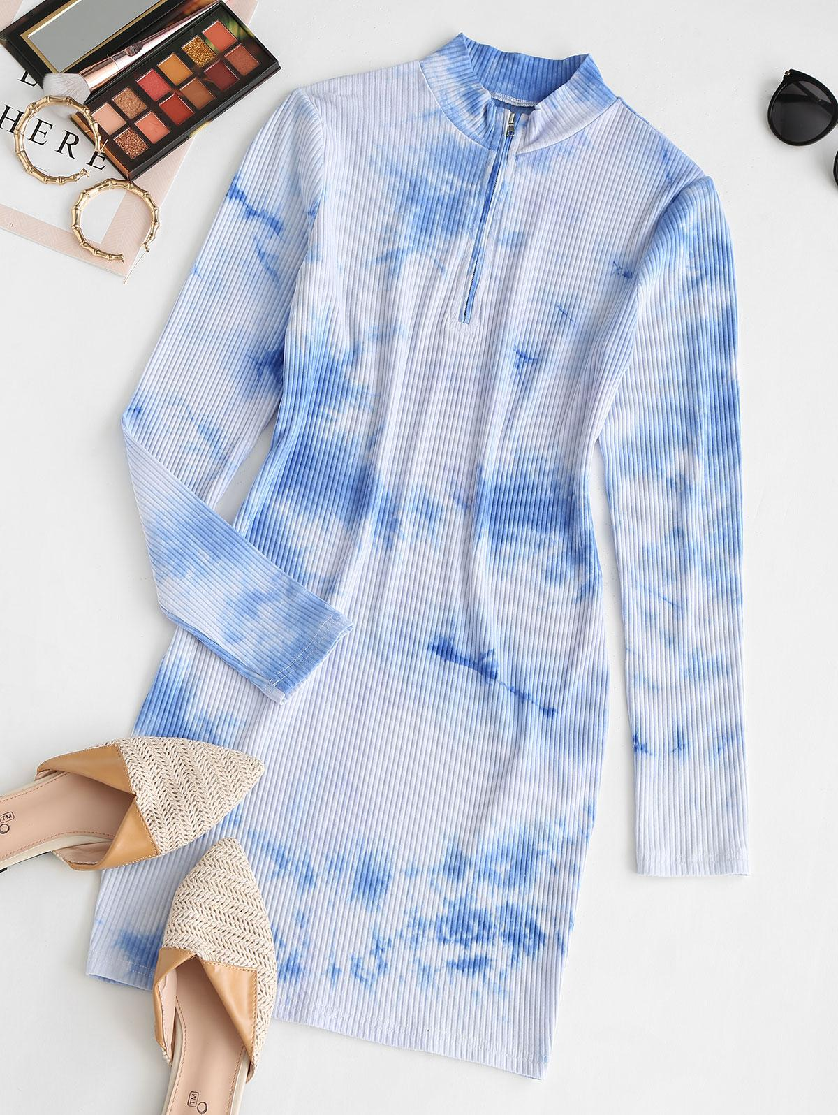 ZAFUL Half Zip Tie Dye Bodycon Dress