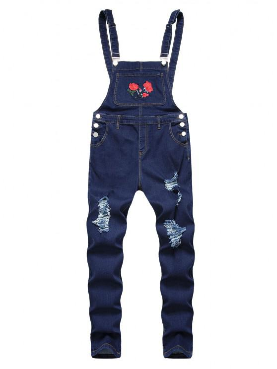 Flower Embroidered Ripped Tapered Overall Jeans - ازرق غامق 38