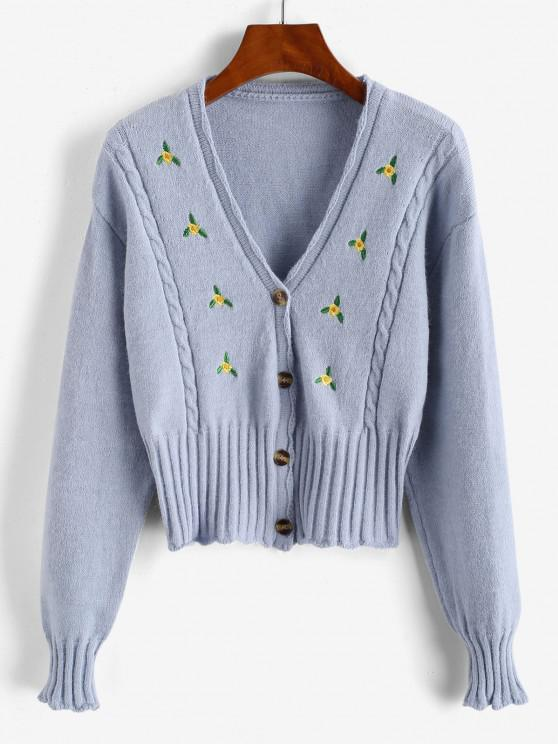 women Button Up Ditsy Floral Embroidered Cable Knit Cardigan - LIGHT BLUE ONE SIZE