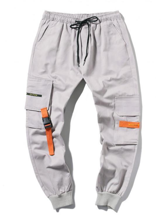 Jogger Pantalones de Cargo Largo con Cordón - Gris Claro XS