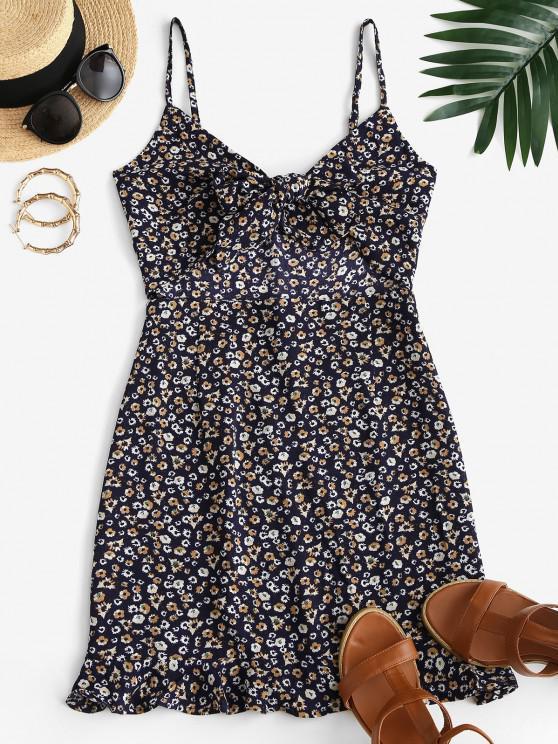 womens ZAFUL Ditsy Print Knot Cutout Ruffle Cami Dress - DEEP BLUE S