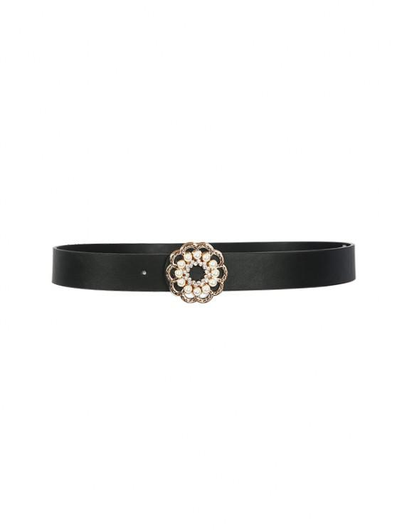 new Floral Shape Faux Pearl Buckle Belt - BLACK