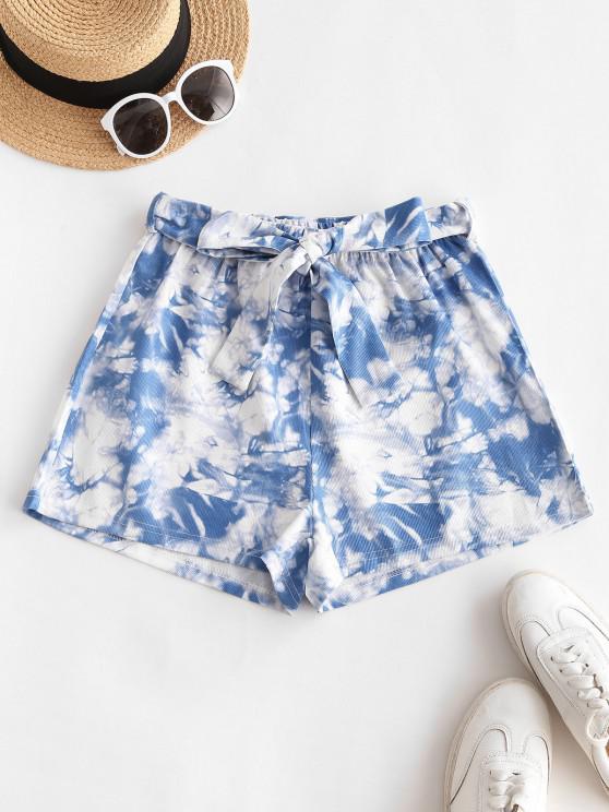 Krawattenfärbende Shorts mit Weitem Bein und Gürtel - Blau S