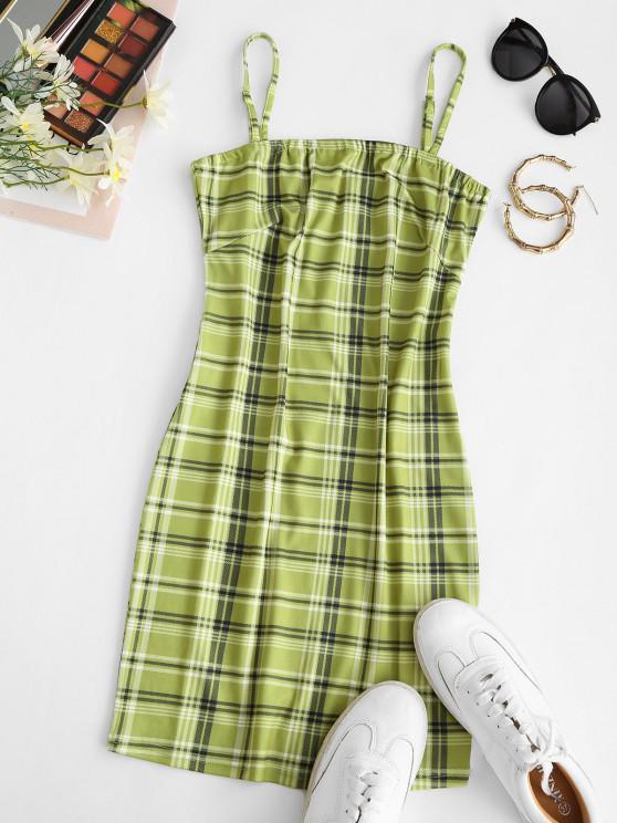 women's Plaid Bodycon Cami Mini Dress - LIGHT GREEN S