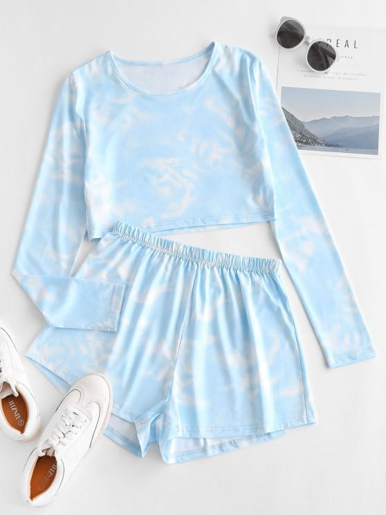 Pantaloncini Larghi di Tie-Dye a Vita Alta - Azzurro S