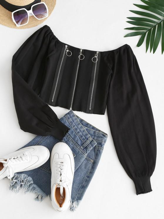 unique Knitted Zipper Front Milkmaid Top - BLACK ONE SIZE