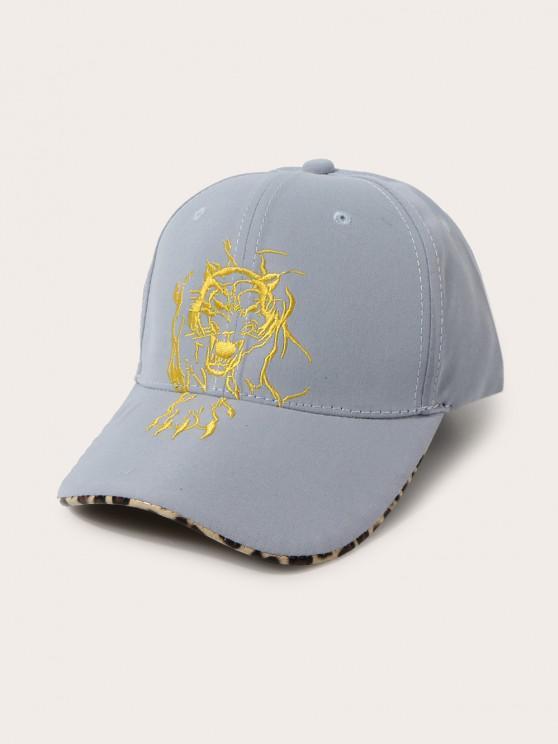 Gorra de Béisbol con Bordado de Leopardo de Tigre - Azul Claro