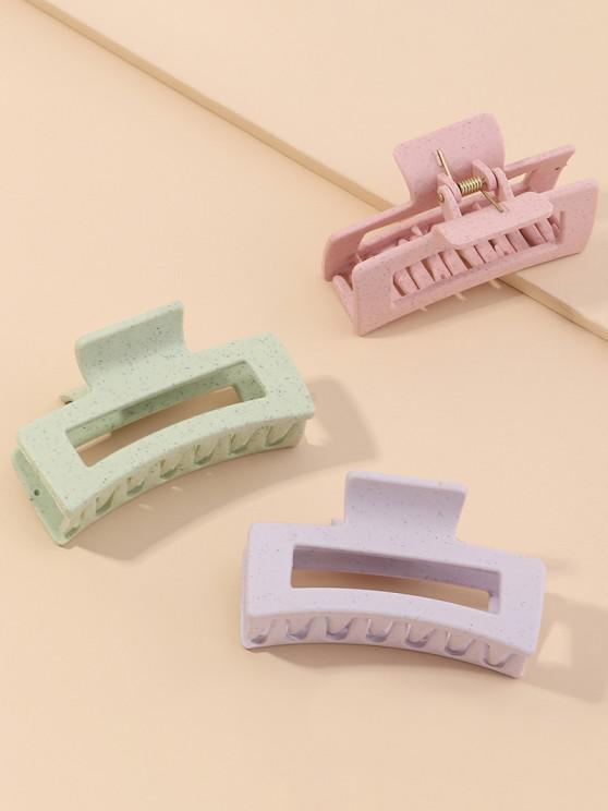 3Pcs Hollow Rectangle Hair Claw Set - متعددة-A