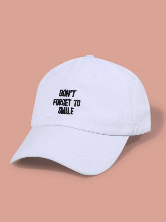 women Letters Embroidery Washed Baseball Cap - WHITE