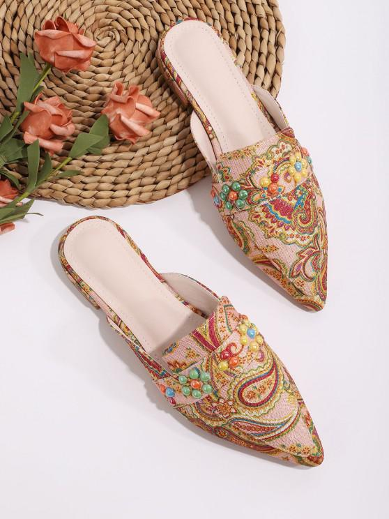 trendy Beaded Paisley Print Pointed Toe Half Flat Shoes - MULTI-A EU 39